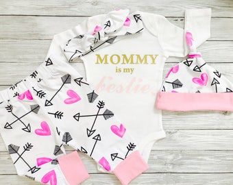 Baby Girl Clothes, Mommy and Me Outfits, Mommy's Girl, Mommy is My Bestie, Baby Girl Clothes Newborn, Baby Girl Clothes Winter