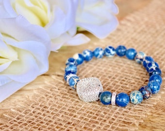 Blue natural stone bracelet with paved rhinestone