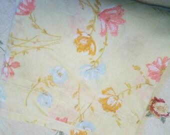 Vintage Dan River Yellow Floral Full Flat Sheet