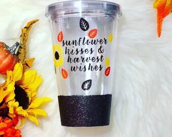 GLITTER DIPPED | Sunflower Wishes & Harvest Kisses Tumbler