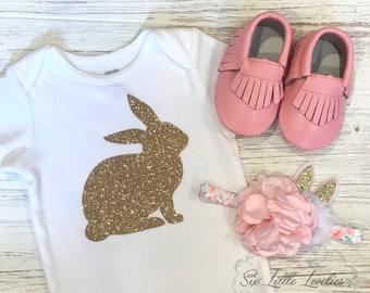 Glitter Bunny Onesie/Baby Girl Onesie/Easter Bodysuit