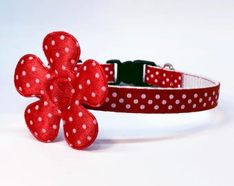 Spring Time Flower with Polkadots Safety Breakaway Cat Collar and Bell