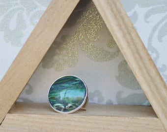 Oversized - celestial - hand painted - jewelry- adjustable - silver - green - hippie - ring jade - shimmer - made by mountainmommamaker
