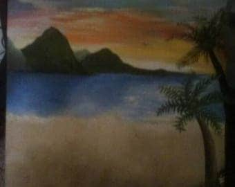 Beach acrylic painting