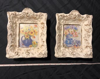 "Vintage Florence Ceramics 1950's Figurine ""Picture Frames"" X2"