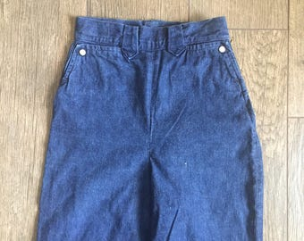 "Vintage 60s Levis side zip high waisted denim pants / pearl pocket buttons / 24"""