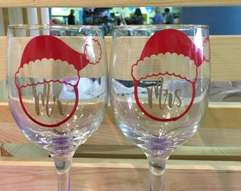 Mr. and Mrs. Clause wine glass pair