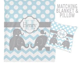 ELEPHANT Monogram Blanket, Personalized Blanket, Baby Boy Name Blanket, Baby Boy Shower Gift, Swaddle Blanket Pillow Set-Baby Pillow