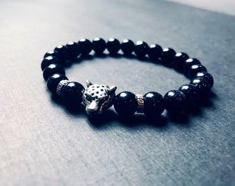 Midnight galaxy leapord  blue sand stones silver charm bead bracelet 8mm