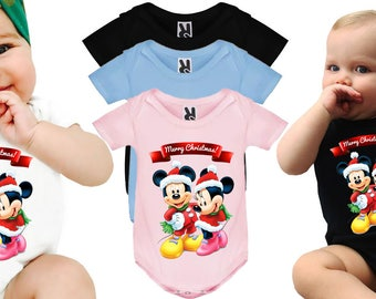 Christmas Disney Baby Bodysuit Xmas Bodysuit Merry Christmas Mickey Mouse Minnie Mouse