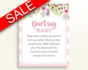 Dont Say Baby Baby Shower Dont Say Baby Pink Baby Shower Dont Say Baby Baby Shower Flowers Dont Say Baby Pink Green shower activity 5RQAG