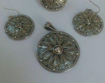Ring,earings and pendetif filigrane silver 925