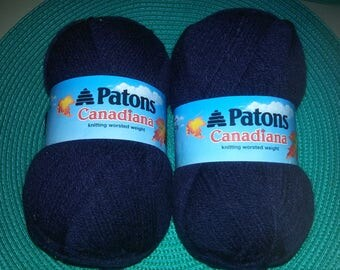 2 Patons Canadiana Yarn Knitting worsted weight  3 1/2 oz each Navy Marine