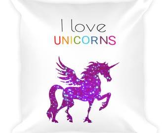 I Love Unicorn Square Pillow