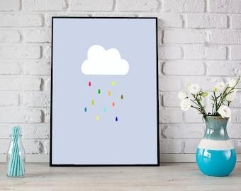 Nursery cloud print, Nursery print, digital download, Cloud print, Cloud rain print, Boy nursery decor, Instant download, baby shower gift