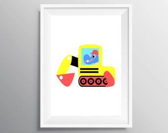 Nursery construction Print, Nursery Decor Kids Print, Hippo Nursery Print Hippo wall art, Digital Download  Nursery Cnstruction Art Kids Art