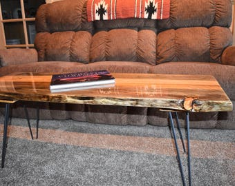 Blue stained pine live edge coffee table