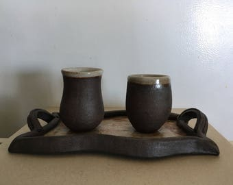 Tray and two espresso cups (pottery)