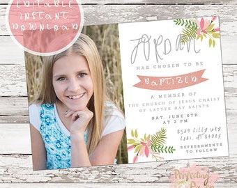 Jordan floral girl lds baptism invitation digital template photography
