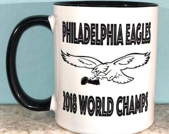 Eagles World Champs Coffee Mug - Logo with Trophy