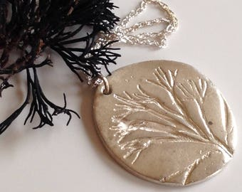 Silver seaweed pendant necklace