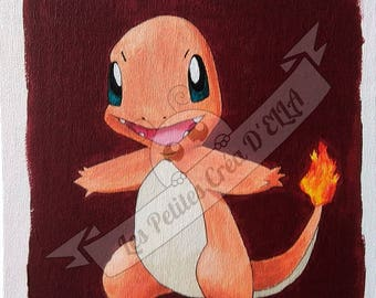 Pokemon Charmander acrylic on canvas