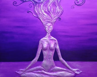 "Meditation Buddha, woman, original artwork, 24 ""X 36"""