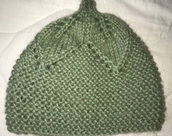 Hand knitted infant hat in sage green
