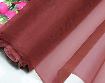 Rosewood 100% Real Silk Organza Fabric Natural Silk Material for Wedding Bridal Dress (yza-11016 Yards /Meter or samples)