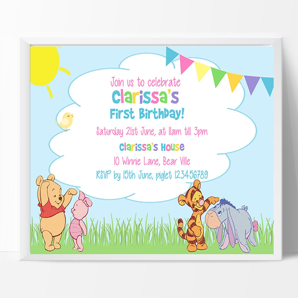 Winnie the pooh birthday invitation 1st birthday note personalised winnie the pooh birthday invitation 1st birthday note personalised and ready for you to filmwisefo