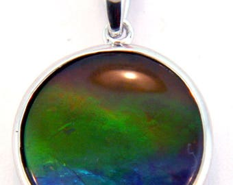 Large Round Shape Ammolite Pendant set in Sterling Silver.