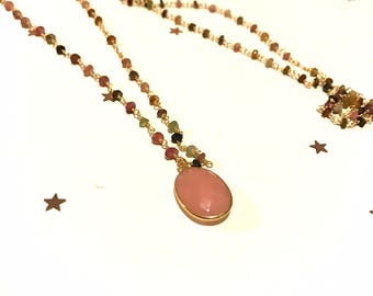 "Necklace ""Simona"" gold end and multicolored semiprecious stones"