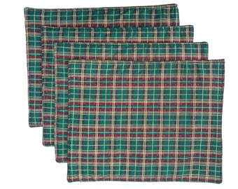 Green and Gold Tartan Check Plaid Cotton Table Place Mats - Set of 4