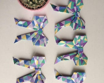 Origami Bows (5 in 1 pack), Paper bows for gifts, craft supplies, decorations