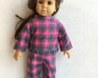 "Flannel pajamas for 18"" dolls"