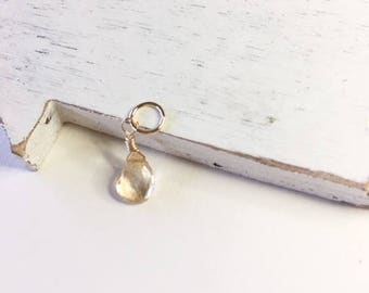 Mystic quartz faceted apricot dangle,gold fill,minimalist jewelry, quartz charm, quartz dangle, gold dangle,mystic quartz, gift for her