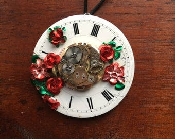 Red rose garden clock face pendant
