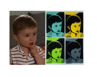 Custom portrait paintings child/adult/animal type Pop - art hand painted. To purchase a set of 4 paintings, the 4th is free