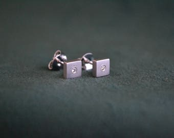 Square White Gold Earrings, White Gold Studs with Diamond, 18K White Gold Earrings, Squared Gold Studs with Diamonds, Gift for Her