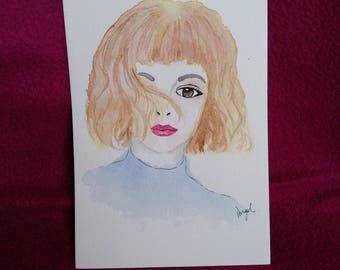 Brown hair girl watercolour painting