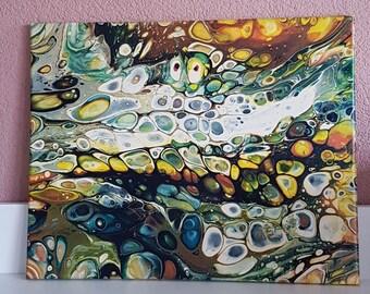 "Fluid art Acrylic pour painting fluid painting canvas painting home decor wall decor cells modern ""Fall Colors 1417"" by PieriDecoArt 16""x20"""