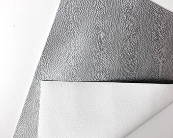 SILVER Metallic, faux leather fabric, synthetic fabric, textured faux leather fabric, vegan leather fabric, faux leather sheets