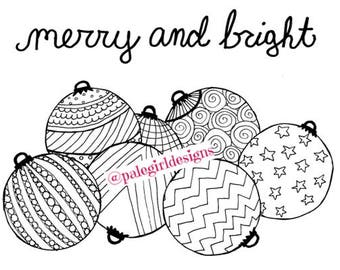 Merry and Bright Coloring Page