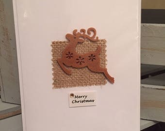 5x Christmas Cards: Reindeer leap