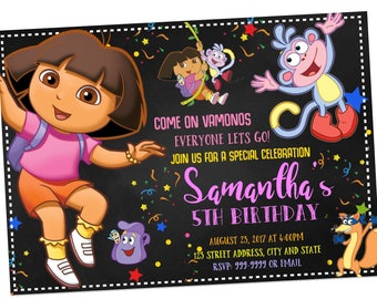 INSTANT DOWNLOAD - Dora the Explorer Invitation - Dora the Explorer Birthday Invitation - Dora the Explorer Invite - Invitation - Birthday
