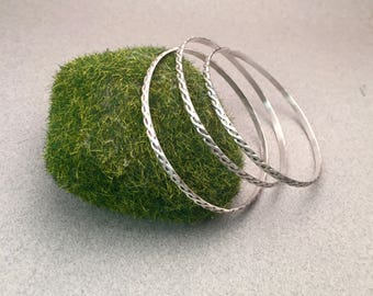 Twisted Rope Detail Sterling Silver Bangle