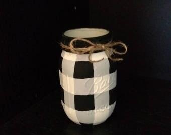 Black and white Buffalo Check, Black and White Plaid, Christmas Decor, Home Decor, Centerpiece, Painted Mason Jar,  gift