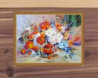 Flower art Kitchen decor Flowers on canvas Still life Poppies on canvas Gift for her Oil Painting Bright Poppies Oil Bright picture canvas