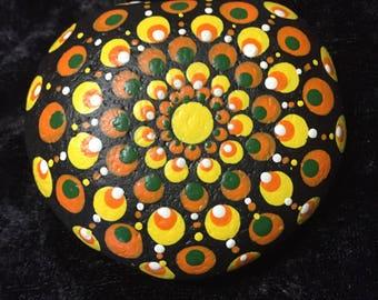 Mandela Zen Collectible Hand Painted Halloween Rock