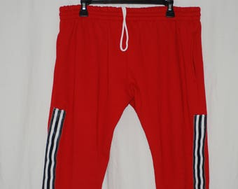 custom red track pants with black/white stripes